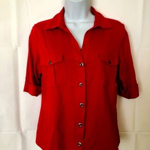 Red women's short sleeve button up blood sizePS
